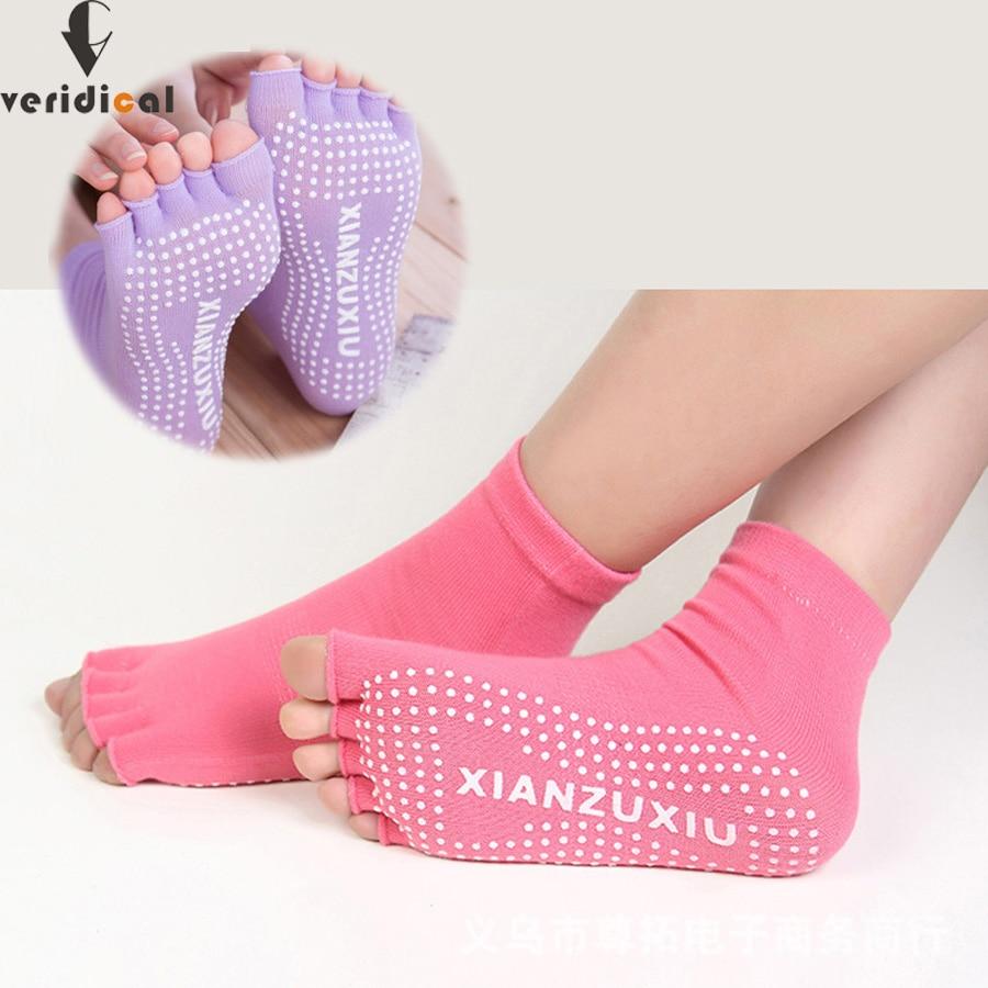 5 чифта / лота Пилатес чорапи на пръстите на краката Неплъзгащи се издръжливи Пилатес Чорапи Половин пръст на глезена Хватка готино пет пръста чорап гореща продажба безплатна доставка