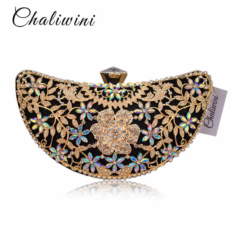 ... Chaliwini Classic Women Clutch Evening Bag Hollow Out Metal Wedding  Sequined Shoulder Bag Prom Bridal Crystal ... dba971e0b20ae