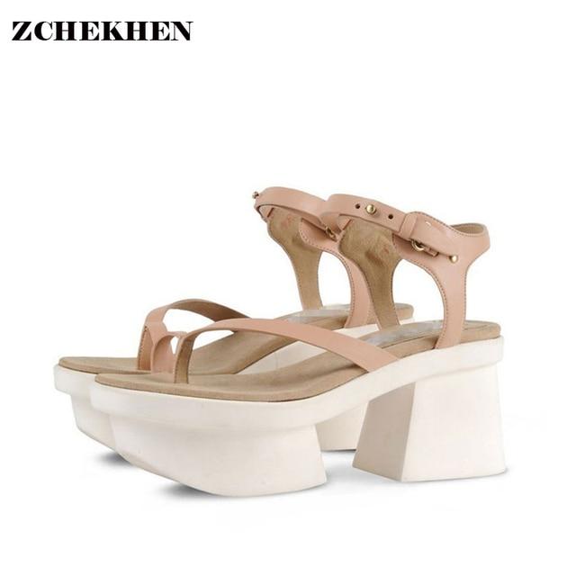 989c71d1 Europa 2017 T modelos Sexy gruesos tacones altos gladiador mujeres sandalias  de verano zapatos de mujer