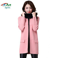 Autumn Winter Long Medium Knit Cardigan Coats Women Casual Sweater Coat Loose Large Size Solid Color