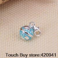 Thomas Style Blue Mini Earth Globe Charm With Lobster Clasp Fit Bracelet Necklace High Quality Silver
