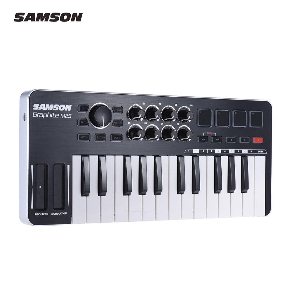 Samson Grafito M25 Ultra Portátil Mini 25-llave Usb Midi Teclado Controlador Con Cable Usb (4 Almohadillas /8 Perillas Asignables)