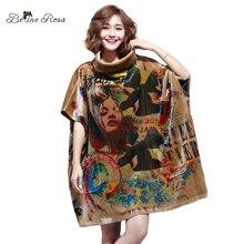 BelineRosa Women's Plus Size Dresses Winter Style European Printing Turtleneck Neck Batwing Sleeve Mini Dress Female TYW00673