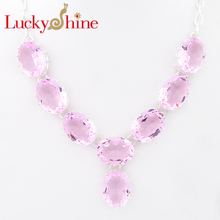 Luckyshine New Arrive Oval Fire Pink Created Stone Silver Plated Wedding Chain Necklaces Russia USA Canada Pendants Necklaces(China)