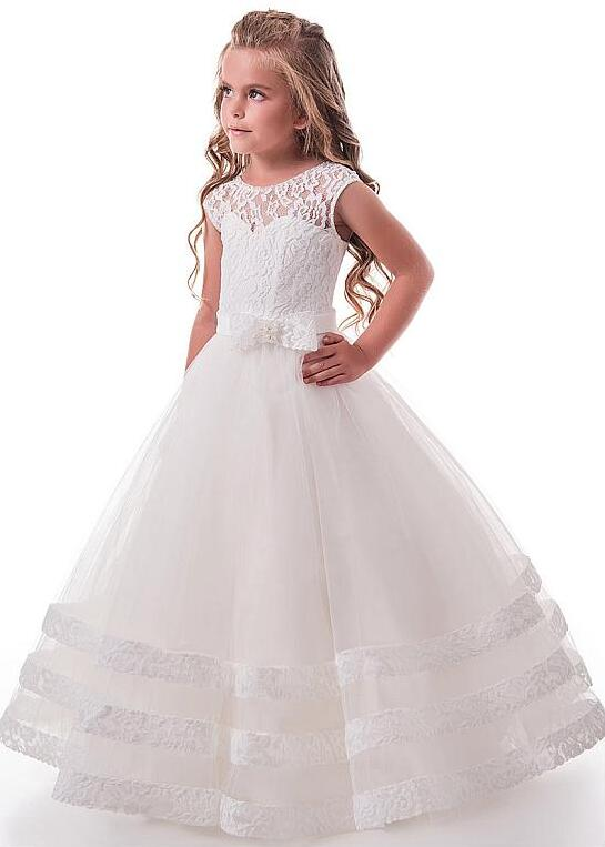 2-16 Kids Lace Flower Girls Dress Kids Pageant Party Wedding Ball Gown Prom Princess Formal Occassion Girls Dress Custom Made teenage girl party dress children 2016 summer flower lace princess dress junior girls celebration prom gown dresses kids clothes