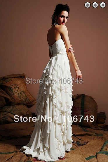 free shipping formal 2018 chiffon bridal gowns vestidos formales white long weddings concise sweetheart bridesmaid Dresses in Bridesmaid Dresses from Weddings Events