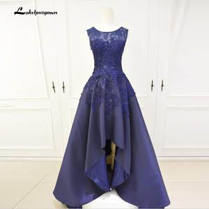 d5855ed89 Navy Blue Cheap High Low Prom Dresses 2018 Long Back Short Front Evening  Party Dress Gowns