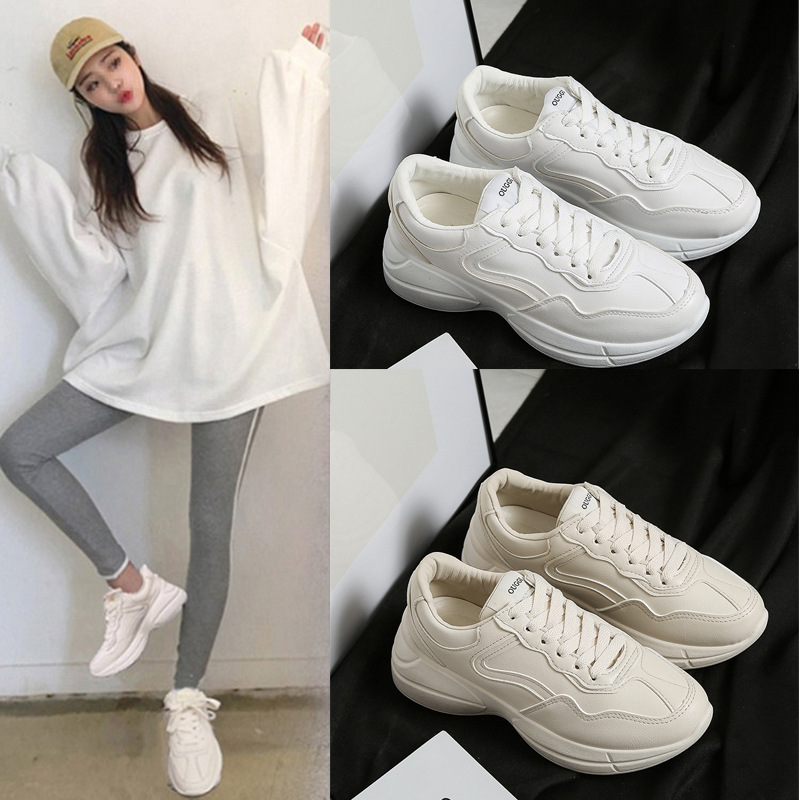Casual Flats Off-White Women Brand Sneakers Platform Ladies Shoes Autumn Warm Solid Lace-Up