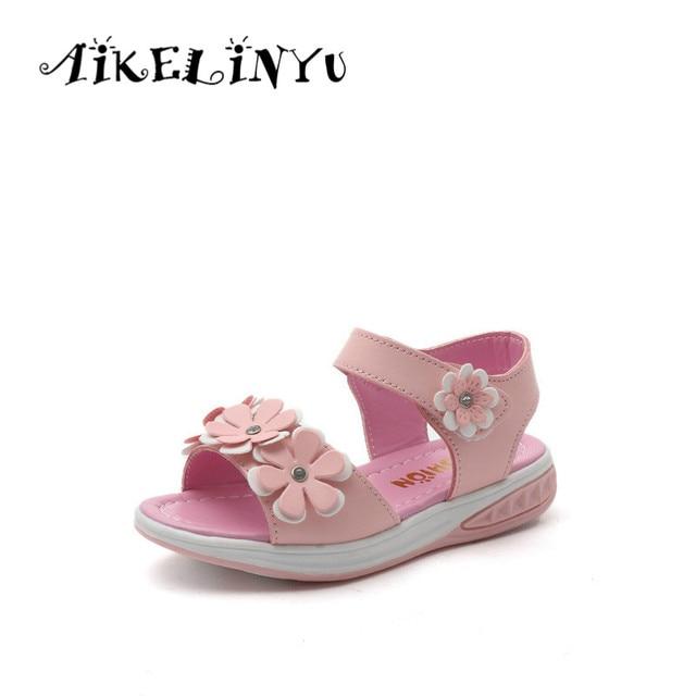 73f381ab Sandalias de verano para niños niñas 2019 sandalias de cuero para niños  niñas flores zapatos de