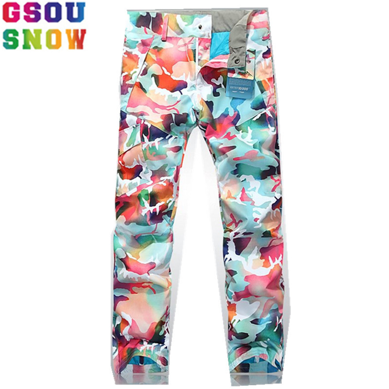 GSOU SNOW Brand Women Ski Pants Camouflage Skiing Trousers Female Snowboard Pants Waterproof 10K Winter Outdoor Snow Skiwear gsou snow ski suit for women skiing suit winter outdoor sports clothes snowboard set camouflage ski jacket and pants multicolor