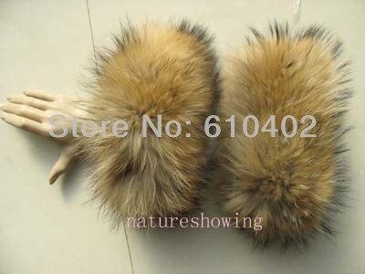 Frauen Echte Waschbär Hund Fell Handgemachte Ärmeln/manschetten Natürliche Braun Winter Exquisite Traditionelle Stickkunst Armstulpen