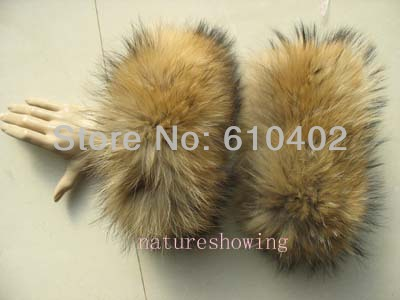 Women's Real Raccoon Dog Fur Handmade Sleeves /Cuffs Natural Brown Winter