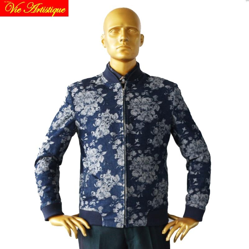jeans blue with jacquard off white large flowers mans fashion bomber jacket designer tailor cut coat 2018 spring autumn new VA