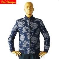 jeans blue with jacquard off white large flowers man's fashion bomber jacket designer tailor cut coat 2018 spring autumn new VA