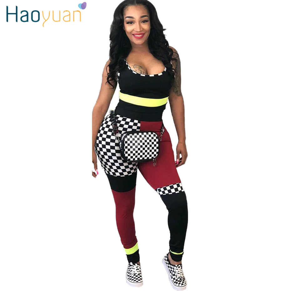5c235c67178a HAOYUAN Sexy 2 Piece Set Women Checkerboard Plaid Print Tops and Pants Suits  Summer Outfits Two