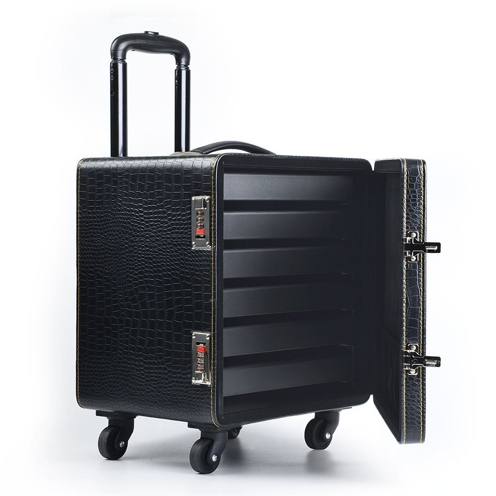 FANXI Jewelry Travel Cases Tra Draw-Bar Case Water Proof Abs Travel Case Pu Leather Jewelry Packing Case for Counter Exhibitor