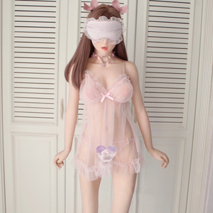 Image 2 - נשים חמוד סקסי הלבשה תחתונה פורנו הלבשת תחרה תחתוני מין בגדי 2PCS Babydoll חוטיני חם ארוטי שקוף שמלה