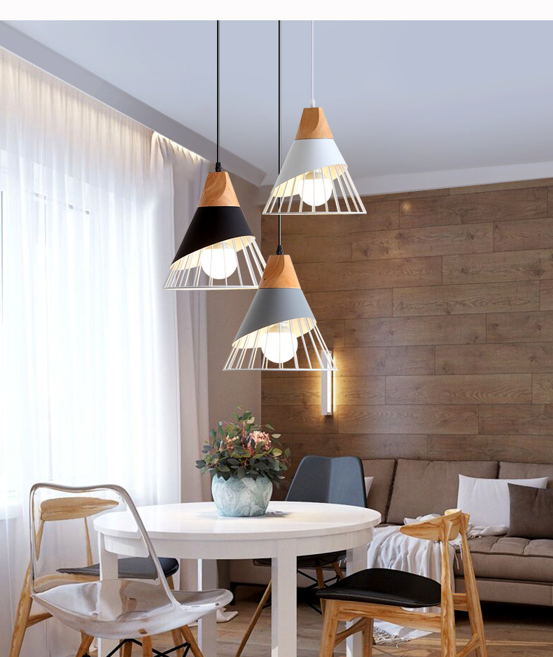 Nordic Led Cone Pendant Lamp Modern Metal Wooden Lightning Fixture Hanging Lampshade E27 Home Decoration Dining Room cafe BarNordic Led Cone Pendant Lamp Modern Metal Wooden Lightning Fixture Hanging Lampshade E27 Home Decoration Dining Room cafe Bar