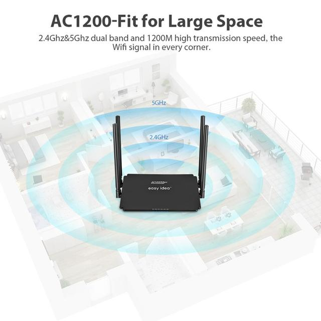 EASYIDEA WiFi router AC 1200Mbps Wireless Router 2.4 G 5Ghz Dual Band WiFi Repeater 4 router antenowy Wi-Fi punkt dostępowy Smart APP