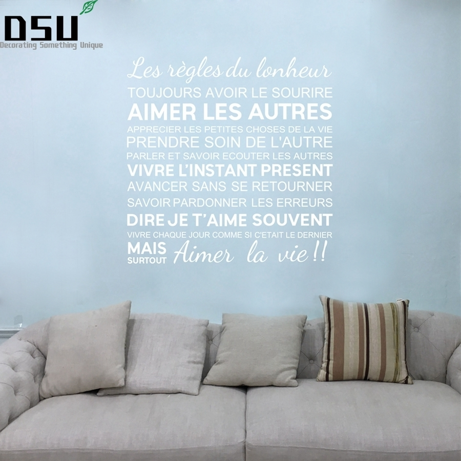 French Quotes Wall Stickers The Rules Of Happiness Vinyl Wall