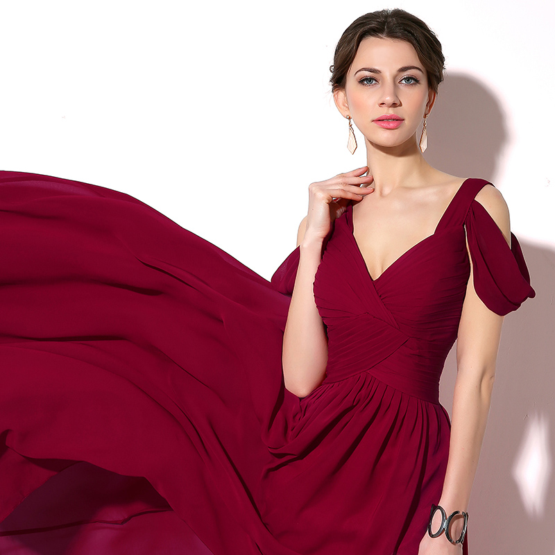 Burgundy Long Chiffon A-line Cap Sleeve Lace Up Back Slit Evening Party Bridesmaid Dress