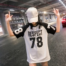 Women's Long High Street T-shirts Color Block Letter Number Print shirts Short Sleeve Summer T-Shirt Tops Fahsion 2019 color block letter print polo collar t shirt