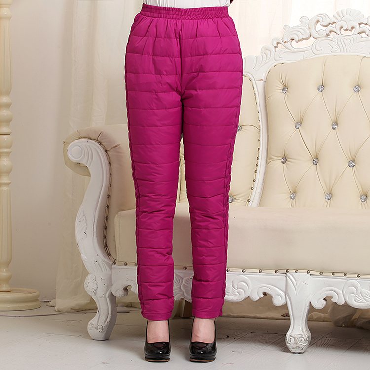 Woman Autumn Plus Size Solid Elastic Waist High Full Length Straight Thick 100% Down Pants Female Winter Warm Down Trousers