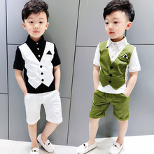 Boy's new fake  two-piece pants summer fashion joker T-shirt off two short sleeve children suit  Fashion  kids clothes ALI 350 boy s new fake two piece pants summer fashion joker t shirt off two short sleeve children suit fashion kids clothes ali 350