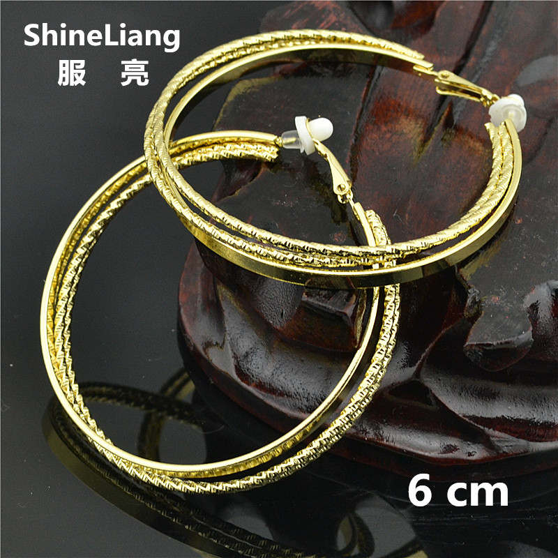 2018 Big Circle Clip on the ear ring No ear hole Without piercing Earrings for women female fashion brand gold silver jewelry