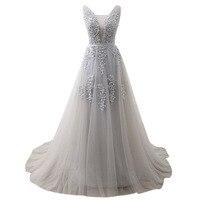 U SWAER 2019 New Arrival Lace A Line Wedding Dresses Tulle Appliques V neck Lace Up Floor Length Cheap Bridal Gowns