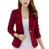 New Long Sleeved Slim Women Blazers And Jackets Small Women Suit Korean Version Slim Gray Blue