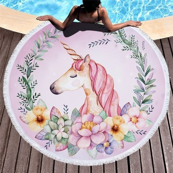 Cartoon Unicorn 150cm Round Beach Towel Wall Tapestry Picnic Blanket Portable Outdoor Sport Storage Bag Bundle Pocket Kids Gift 16