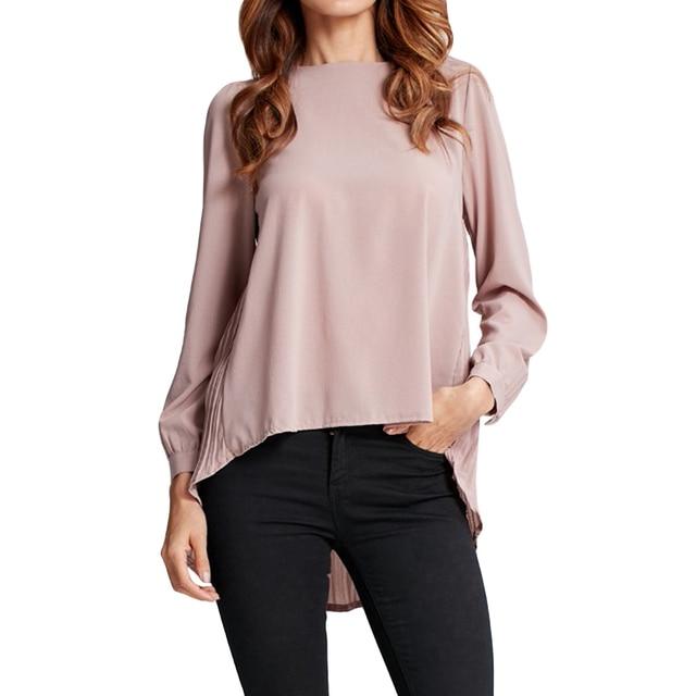 12f294a7c93f84 4XL 5XL Women Chiffon Blouse Pleated Back Long Sleeve Asymmetric Shirt  Loose Casual Plus Size Shirt