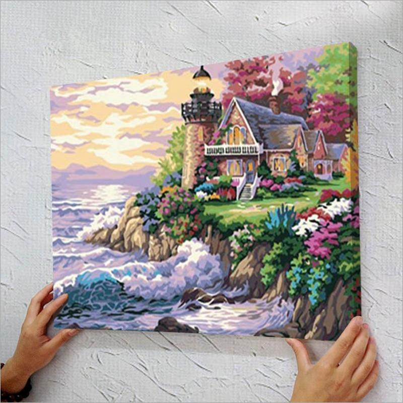 40x50 seascape imagen marco números colorear por números acrílicos ...