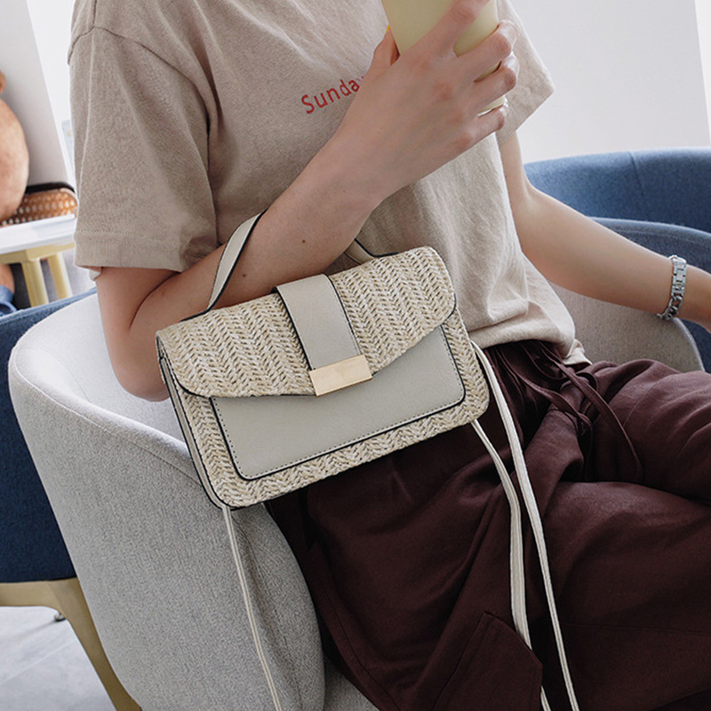 Grey Leather Straw Bags