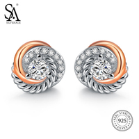 SILVERAGE 925 Sterling Silver Jewelry Rose Gold Silver Tone Cubic Zircon Love Knot Stud Earrings Mother