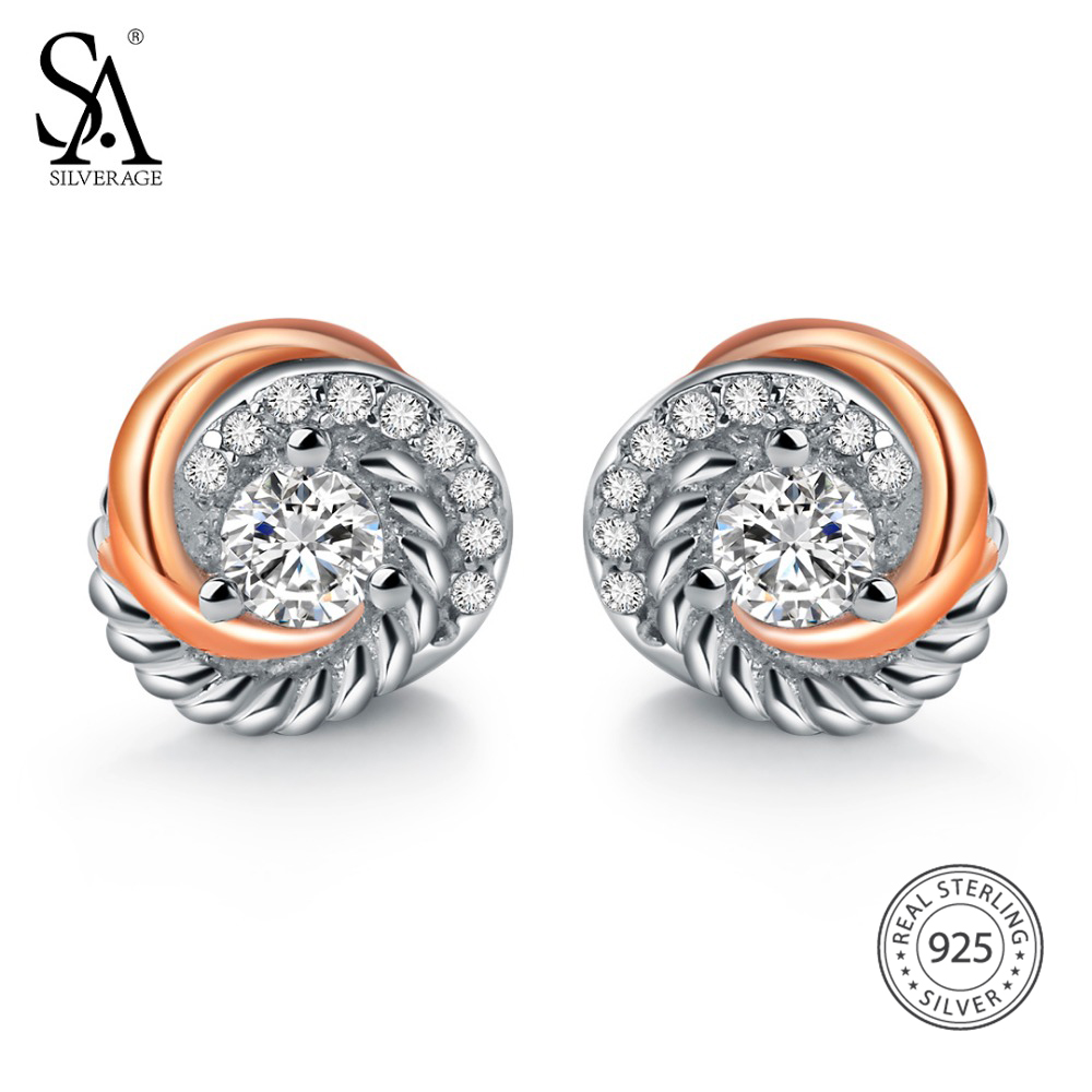 SA SILVERAGE Real 925 Sterling Silver Stud Earrings Rose Gold Color Fine Jewelry Love Circle 925 Silver Stud Earrings for Women gold big circle geometric statement stud earrings