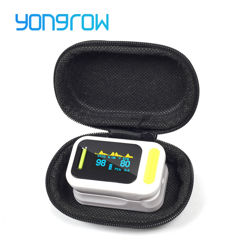 Yongrow Medical FDA Fingertip Pulse Oximeter PR Oksygen Saturation Memter SPO2 PI Oximetro De Dedo Pulsioximetro Oksymeter