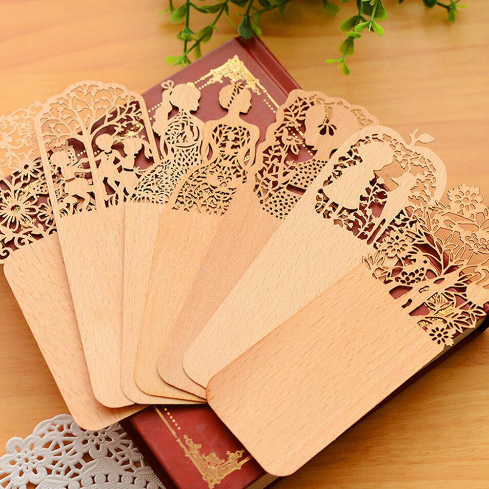 Vintage Wooden Hollow Bookmark Office School Students Supplies Gift Random U5P