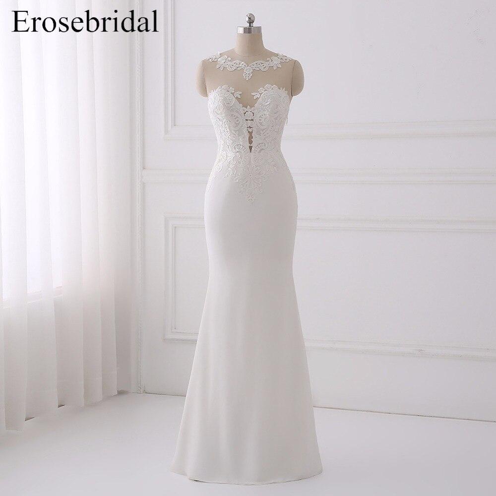 Sexy Illusion Back Mermaid Wedding Dress 2018 Lace Bohemian Wedding Dresses Elegant Appliques Bodice Bridal Gown