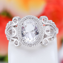 Women's Fashion   White Gold Plated Oval Zircon Cutout Finger Ring Jewelry