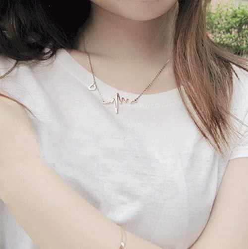 Collier coeur vague amour romantique électrocardiogramme Pulse pendentif à breloque collier battement de coeur collier argent or femmes bijoux