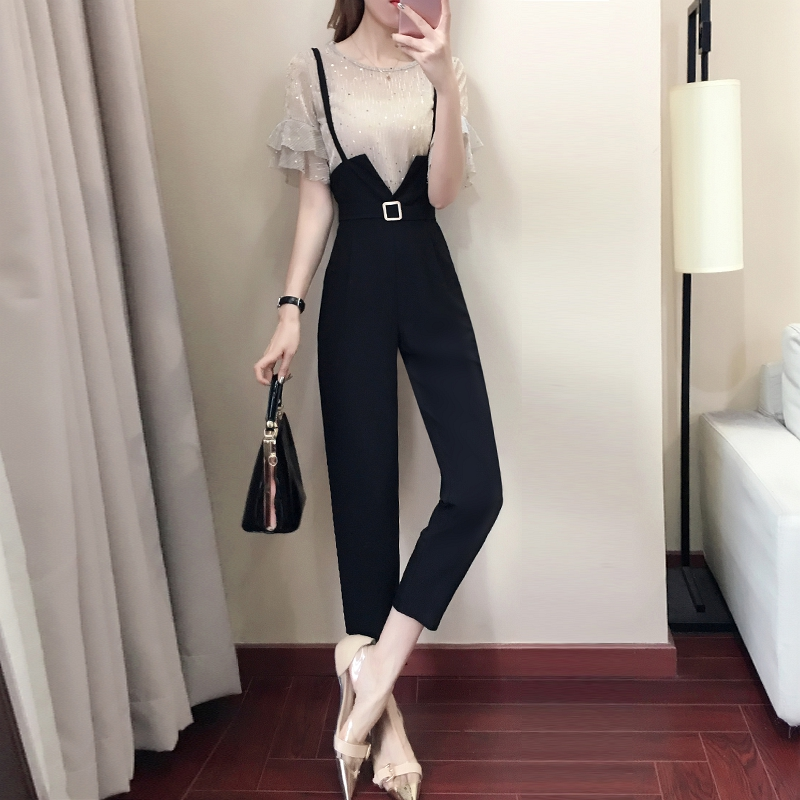 Casual women 2 pieces pant sets 2018 summer new fashion ruffles sleeved and black pencil pants lady clothing sets 4