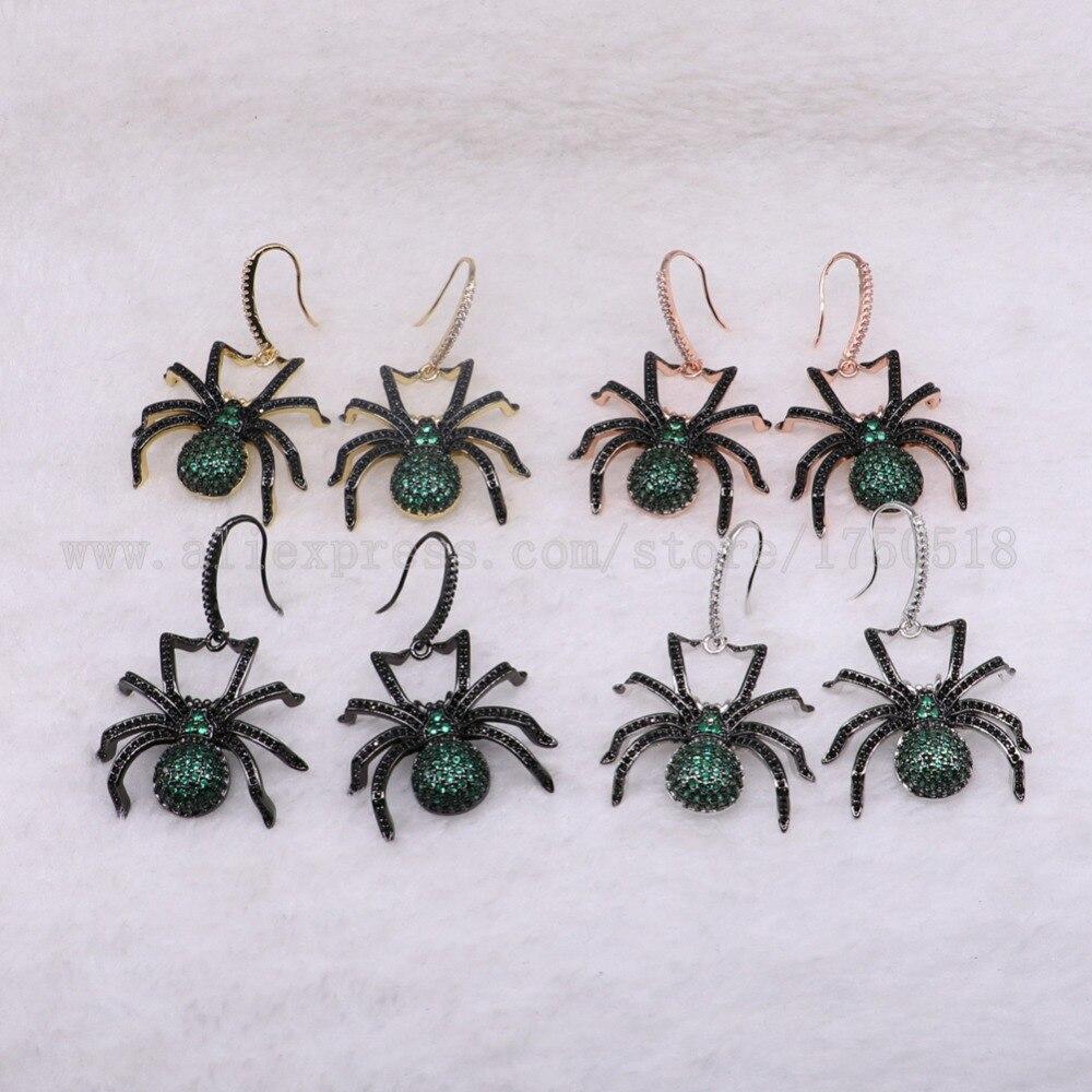 3 пары большой паук Серьги зеленый насекомых Fly Би молния Серьги для леди насекомых Серьги ошибок Jewelry Серьги 3223