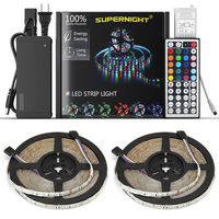 SuperNight 3528 RGB LED Strip Light Kit 2pcs*5M 60LEDs/m DC 12V Waterproof IP65 Lamp Band with RGB Controller Power Adapter US
