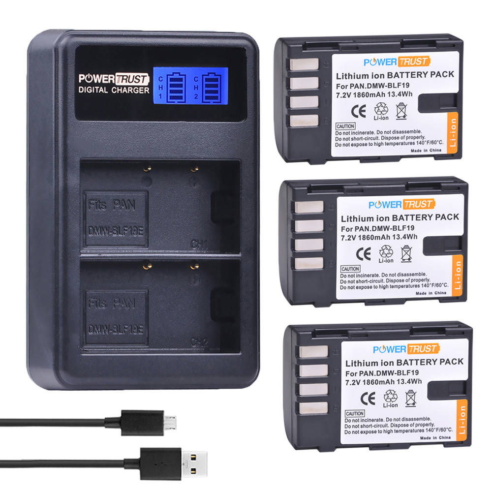 3 Pcs 1860 mAh DMW-BLF19E DMW-BLF19 Batteria Li-Ion DMW BLF19 BLF19 BLF19E + LCD Dual USB Caricabatterie per Panasonic Lumix Dmc GH3 GH4 GH5
