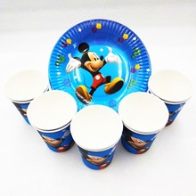 цена 20pc/set Mickey Mouse Birthday Party Supplies Plates Cup Disposable Tableware Party Favors Decoration Cake dishes