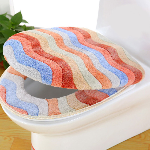 Cool Toilet Seat Mat Cover Colors Stripe Strong Elastic Toilet Seat Cover 2 Piece Set Coral Velvet Warm Waterproof Sticky Toilet Mat In Toilet Seat Covers Gamerscity Chair Design For Home Gamerscityorg