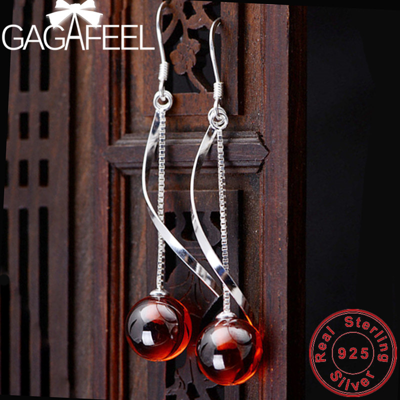 GAGAFEEL S925 Sterling Silver Red Stone Hanging Earrings Simple Jewelry for Women Female Wholesale High Quality tytw opal jewelry silver 925 colorful high quality female zircon lady jewelry simple earring wedding rhodium earrings for women