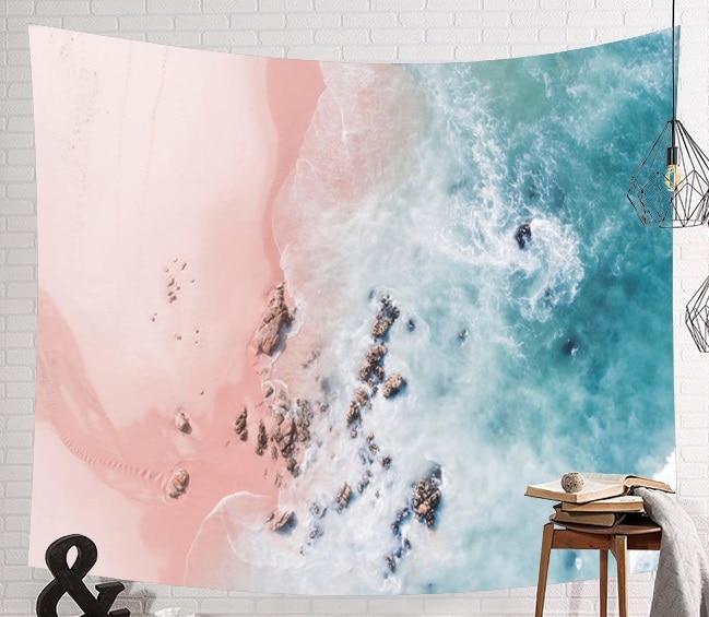 Image 4 - CAMMITEVER голубое море гобелены из слоновой кости Aubusson цветной декор с принтом Мандала Бохо стены ковер Богемия пляж тканевый коврик-in Гобелен from Дом и животные